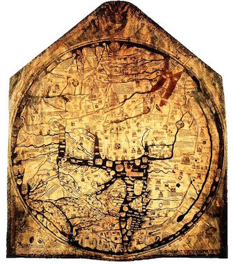 A photograph of the Mappa Mundi, Hereford Cathedral