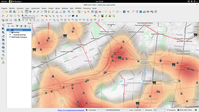 A screenshot of the QGIS application's user interface demonstrating a heatmap with a basemap and an arbitrary vector layer